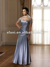 Sweetheart Neck A-line Strapless Beaded Ruffle Taffeta Light Blue Mother of the Bride Dresses With Jackets md059