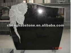 Upright Granite Headstone With Sunflower