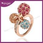 Fruit design cherry Crystal ring,ladies ring