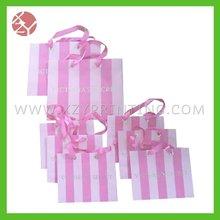 pink stripe printing underwear shopping bags