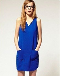 lady concise V-neck chiffon dress