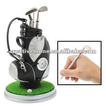 Golf Pen Holder with Golf Pen / Clock / Plastic Grass Mat (Gray)