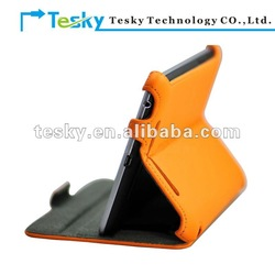 orange Heat setting stand protective leather case for google nexus 7 tablet