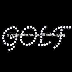 GOLF - Italics Rhinestone Iron On Transfer
