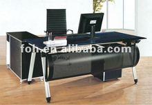 Modern Boss Office Furniture, Glass Boss Table,Glass Furniture Wheels Table(FOHYTJ-8056)