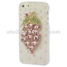 Diamante grappolo uva custodia in plastica per iphone 5( rosa)