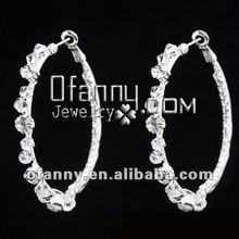 Fashion stylish wedding crystal rhinestone big hoop earrings