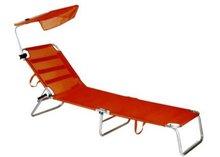Teslin mesh aluminium folding beach sun bed chaise lounger bench with sunshade PAL226