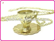 Beautiful gold Tea time empty cup chain necklace(A108879)
