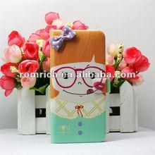 Cute Cartoon Lobely Bow Girl flip leather case for Apple iphone5