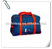denim square travel bag with handle
