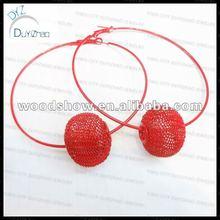 Wholesale basketball wives mesh ball hoop earrings