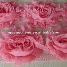 chic chiffon shabby flowers trim for baby infant hairband decoration