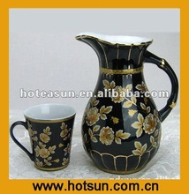 Hot Sale 7pcs Gold Rim Blue Ceramic Juice Milk Pitcher 2A747