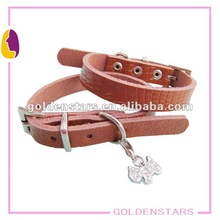 Adjustable plain leather dog collar for pet Wholesale price