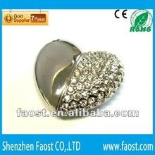 fashionable bling bling heart shape battery usb flash