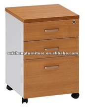 Classical wooden three-drawers mobile cabinet