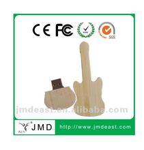 Natural guitar shape wooden usb for promotion