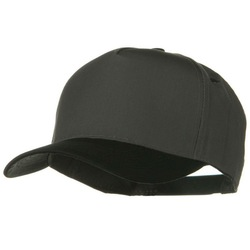 Cotton Twill Two Tone 5 Panel Prostyle Snap Cap - Black Charcoal Grey