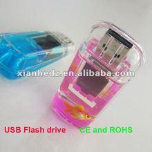 Lowest MOQ USB Flash drives, Liquid Filled USB flash memory, Oil pen drives Liquid with Floater