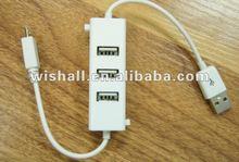 2012 hot-sale smart 4 port driver to usb& micro usb hub