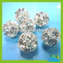 Crystal rhinestone silver connector ball beads SP02