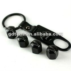 New Style Black Tire Valve Stems Cap with Spanner Keychain (for Jaguar logo)
