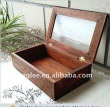 Retro brown wooden storage box