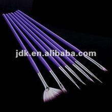 Professional 7 PCS Purple Nail Art Pen and Brush