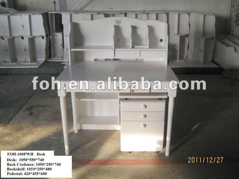 Estilo europa branco mesa com estante, Menina quarto de mesa ( FOH-100PWH )