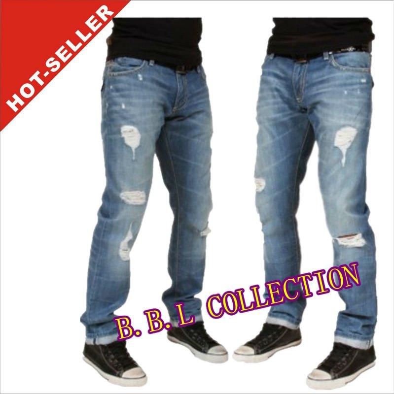2012-2013 pantalones vaqueros de los hombres de moda barata jeans skinny jeans bolsillo trasero diseños ( jfk159 )