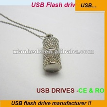 Fancy Cylindrical jewelry thumb drives usb drives necklace bling