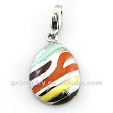 colored enamel rain drop shaped pendant