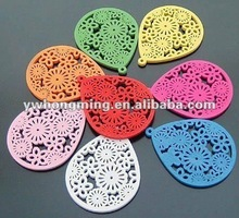 Drop shape wood beads whit flower carved,38*50mm flat wood beads for 2012 DIY jewelry accessories!!