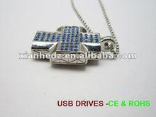 crystal usb key, necklace pendant crystal usb flash driver, diamond Jeweled thumb drive