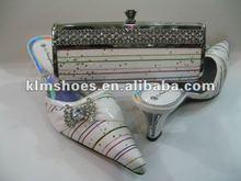 bridal wedding shoes & matching clutch handbag purse set