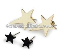 Fashion Gold Star Earring Set wholesale fashion gold earrings 2012 new design star stud earrings