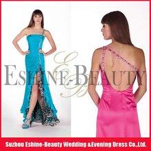 New arrival floor-length soft satin one shoulder front short long back evening dress