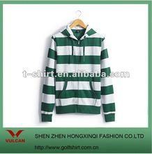 2012 stylish green and white striped hooded sweatershirt