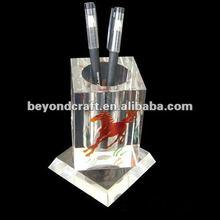 engraved etched crystal pen holder with base