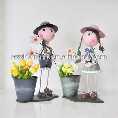 anao de jardim resumo:dolls/bonecos artesanais/bonecas de metal vaso de flores-Artesanato de