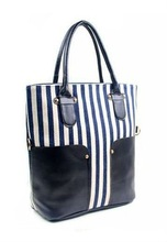 Vintage Navy Style Stripes PU Canvas Ladies Fashion Handbag Shoulder Bag