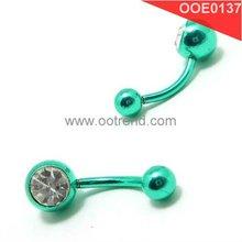 Free Allergy piercing stainless steel green earrings