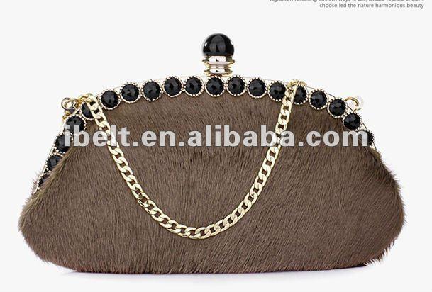 horse hair evening bag with rhinestone