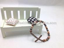 2012 Newest Fashion Beaded Sideways Cross Bracelet