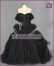 RW23 Real Sample Off The Shoulder Black And White Wedding Dresses 2012