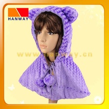 Fashion fake fur animal shape winter hat and cape with fleece lining and pompoms