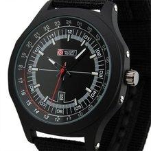 Brand New Mens Aiator Style Military Black Fabric Band Quartz Army Watch MR072