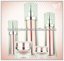 united acrylic pink cosmetic packaging bottles and jars