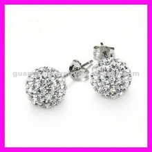 fashion stainless steel stud earrings with crystal balls for women
